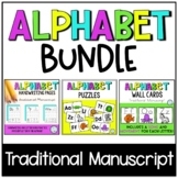 Alphabet BUNDLE | Alphabet Handwriting Pages with Wall Cards, Song, and Puzzles