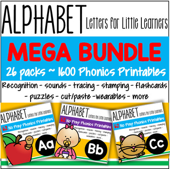 Alphabet BUNDLE Recognition Sounds Tracing Stamping Flashcards 1600 pages