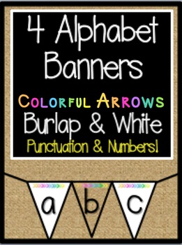 Alphabet Banner: 4 Bright Arrow Sets with Burlap and White Backgrounds