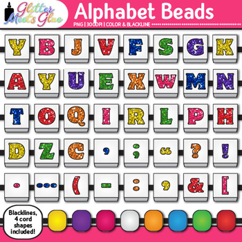 Alphabet Beads Clip Art {Teach Letter Recognition and Iden