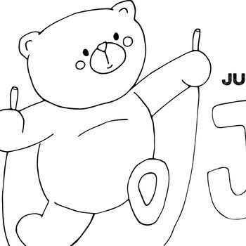 Alphabet Bear Black Line Art Outlines, Teddy Bear Stamp, Hand Drawn Character