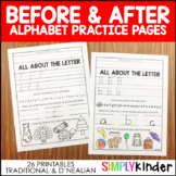 Alphabet Before & After  (Traditional print & D'Nealian)