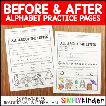 Alphabet Before & After  (Traditional print & D'Nealian)