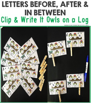 Alphabet Before and After Clip & Write Task Cards