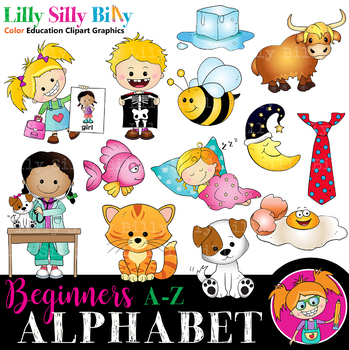 Alphabet - Beginners 1. BLACK AND WHITE & Color Bundle. {Lilly Silly Billy}