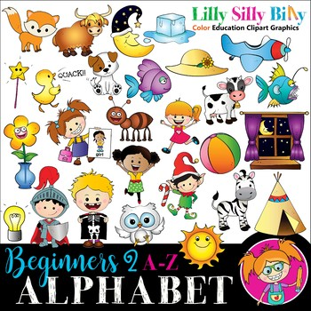 Alphabet - Beginners 2. A - Z pictures with short words {Lilly Silly Billy}