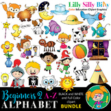 Alphabet - Beginners 2. BLACK AND WHITE & Color Bundle. {Lilly Silly Billy}