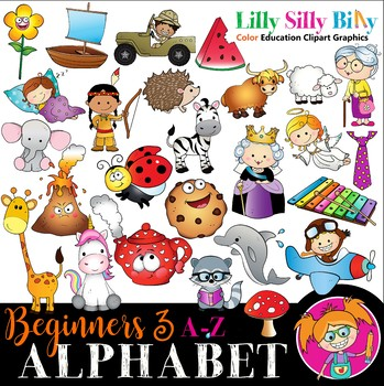 Alphabet - Beginners 3. A - Z pictures with 1- 4 Syllables. {Lilly Silly Billy}