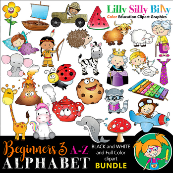 Alphabet - Beginners 3. BLACK AND WHITE & Color Bundle. {Lilly Silly Billy}