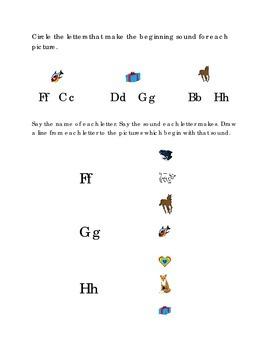 Alphabet Beginning Consonants Letters F G H Kindergarten