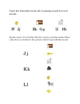 Alphabet Beginning Consonants Letters J K L Kindergarten.