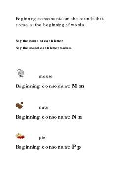 Alphabet Beginning Consonants Letters M N P Kindergarten