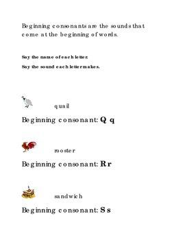 Alphabet Beginning Consonants Letters Q R S Kindergarten