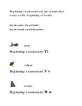 Alphabet Beginning Consonants Letters T V W Kindergarten