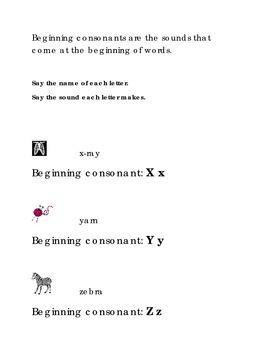Alphabet Beginning Consonants Letters X Y Z Kindergarten