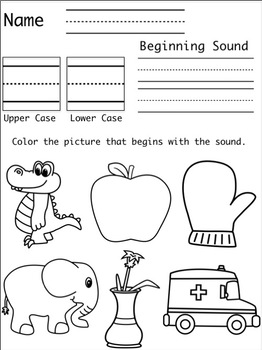 Alphabet Beginning Sound Assessment Sheets A-Z
