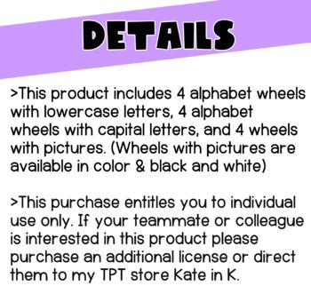 Alphabet & Beginning Sound Clip Wheels