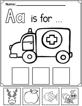 Alphabet:  Beginning Sound Cut and Paste Fun