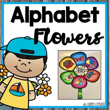 Alphabet Beginning Sound Sorting Activity -  Flower Theme
