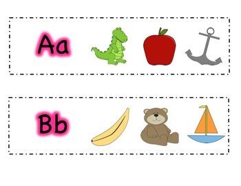 Alphabet Beginning Sound strips