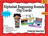 Alphabet Beginning Sounds Clip Cards for Centers (Phonics