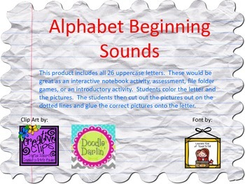 Alphabet Beginning Sounds Cut & Paste