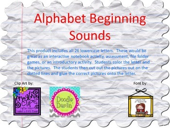Alphabet Beginning Sounds Cut & Paste-Lowercase Letters