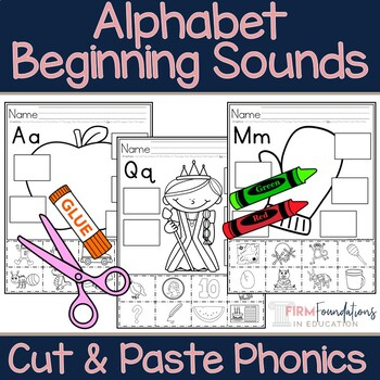 Alphabet Beginning Sounds Cut and Paste Phonics