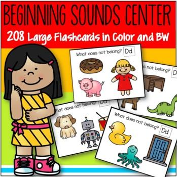 Alphabet Beginning Sounds Interactive Center and Printables