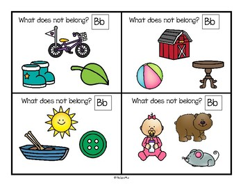 Alphabet Beginning Sounds Center and Printables - Which Picture Does Not Belong?
