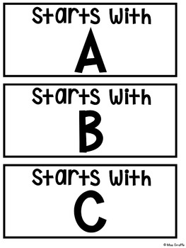 Alphabet Cards Beginning Sounds Pocket Chart Centers and Materials