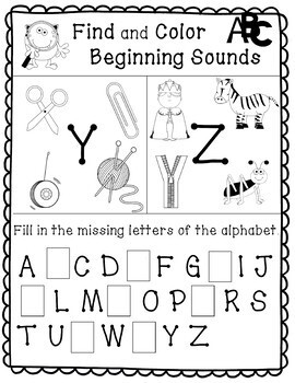 Alphabet - Beginning Sounds Workbook/Coloring Book