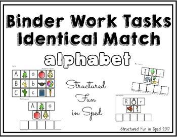 Alphabet Binder Identical Matching Tasks