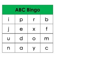 Letter Identification Bingo