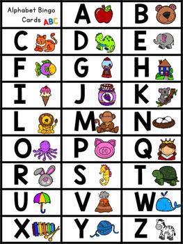 Alphabet Bingo - 26 Bingo Cards and Letter Calling Cards