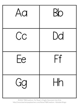 Alphabet Activities Bingo