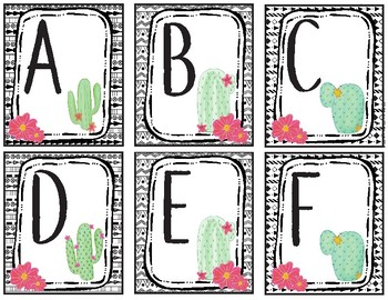 Letter matching Alphabet Bingo Uppercase to Uppercase-Cactus