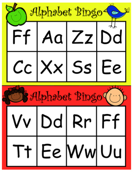 Alphabet Bingo - Upper and Lower Case Letters 30 Cards