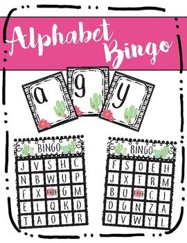 Alphabet Bingo-Uppercase to Lowercase-Cactus