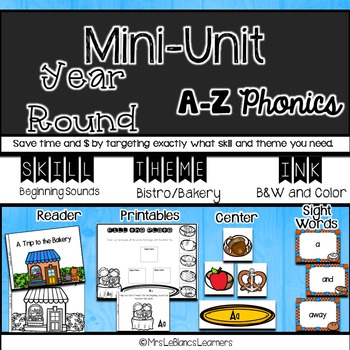 A-Z Beginning Sound Bakery Printables