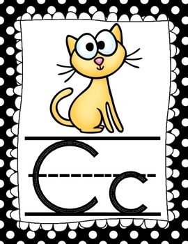 Alphabet Black and White Polkadot Classroom Posters