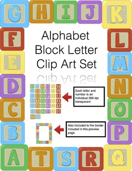 Alphabet Block Letter Clip Art *Includes Numbers and a Border