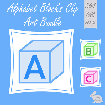 Alphabet Blocks Clip Art BUNDLE Upper Case Lower Case