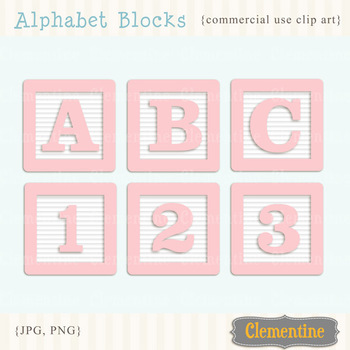 Alphabet Blocks clip art - pink