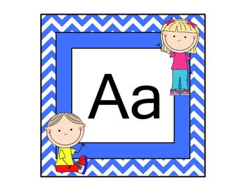 Alphabet- Blue Chevron with Kids