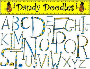 Alphabet Blue and Yellow Clip Art by Dandy Doodles