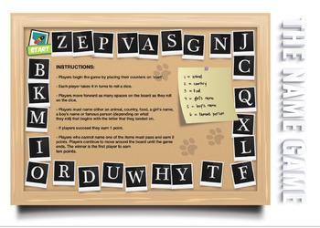 Alphabet Board Game - The Name Game