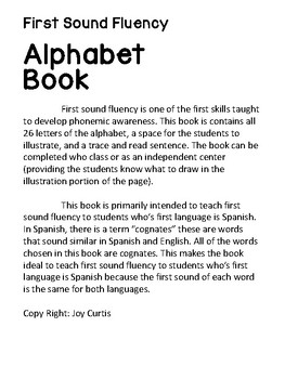 Alphabet Book First Sound Fluency