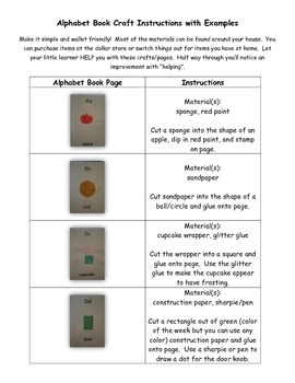 Alphabet Book Page Instructions: What Each Page Should Look Like