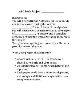 Alphabet Book Project - End of Unit Summative Informal Assessment